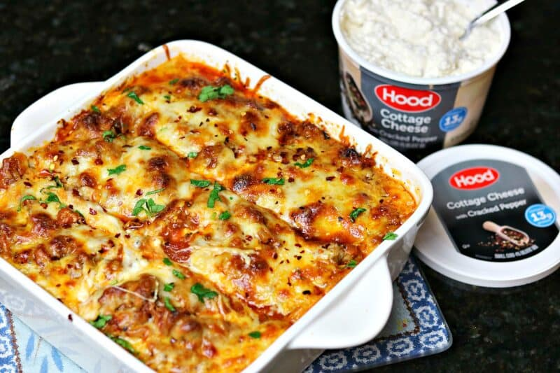 keto lasagna in a casserole dish with cottage cheese