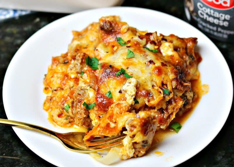 cottage cheese keto lasagna on a plate
