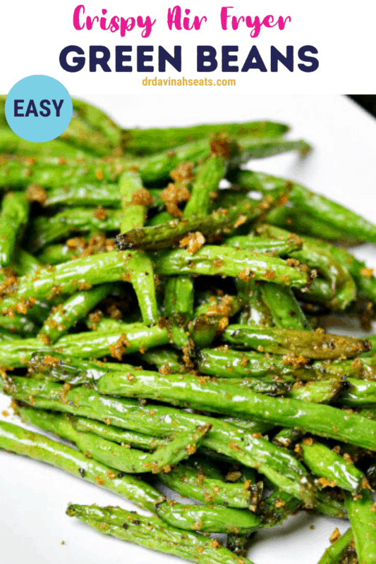 air fryer green beans pinterest image