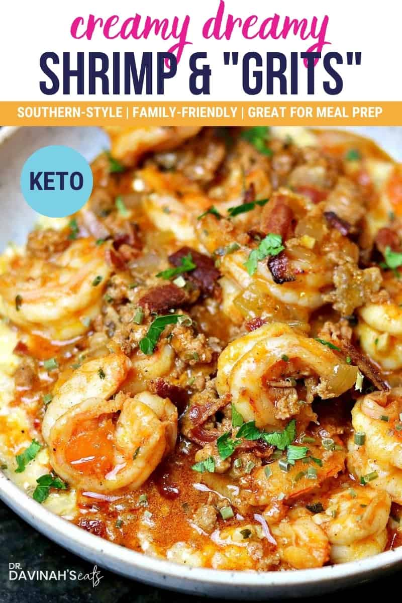 pinterest image for low-carb shrimp and grits that says creamy, dreamy