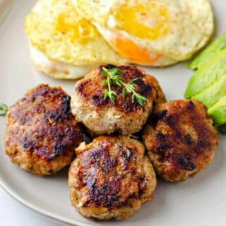 close-up of chicken breakfast sausage on a plate