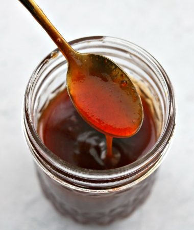 Keto Sweet and Sour Sauce in a glass jar