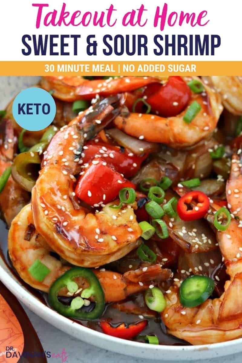 Pinterest image for keto sweet and sour shrimp that says takeout at home