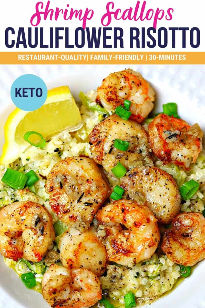 pinterest image for shrimp, scallops and cauliflower rice risotto