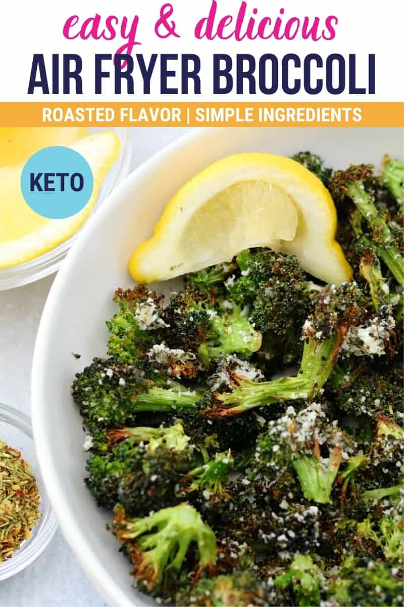 pinterest image that says easy and delicious air fryer broccoli