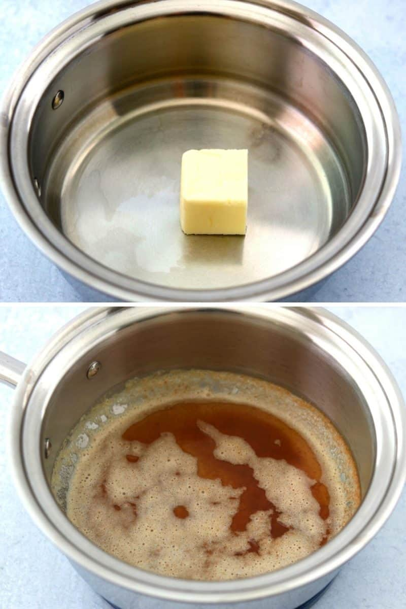 comparison of regular butter and browned butter