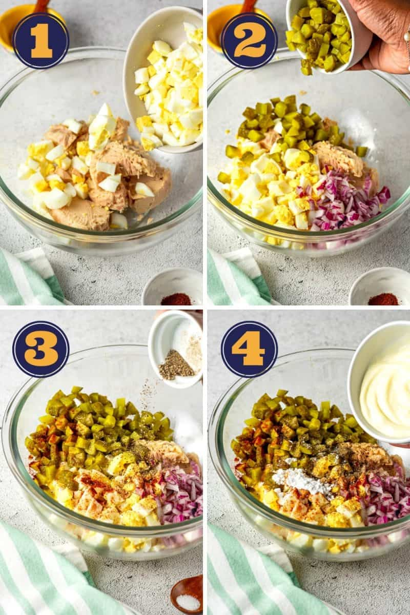 a photo college of how to make keto tuna salad in four steps