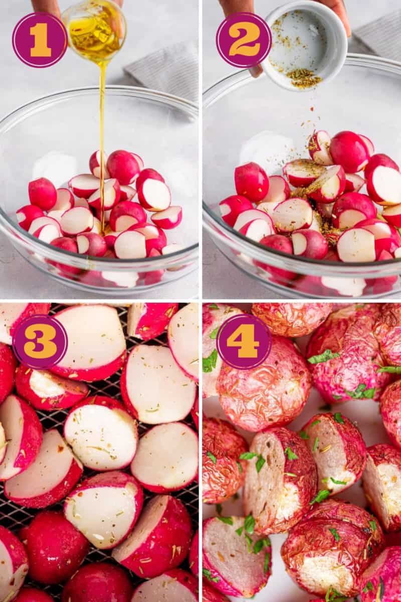 photo collage for how to make air fryer roasted radishes