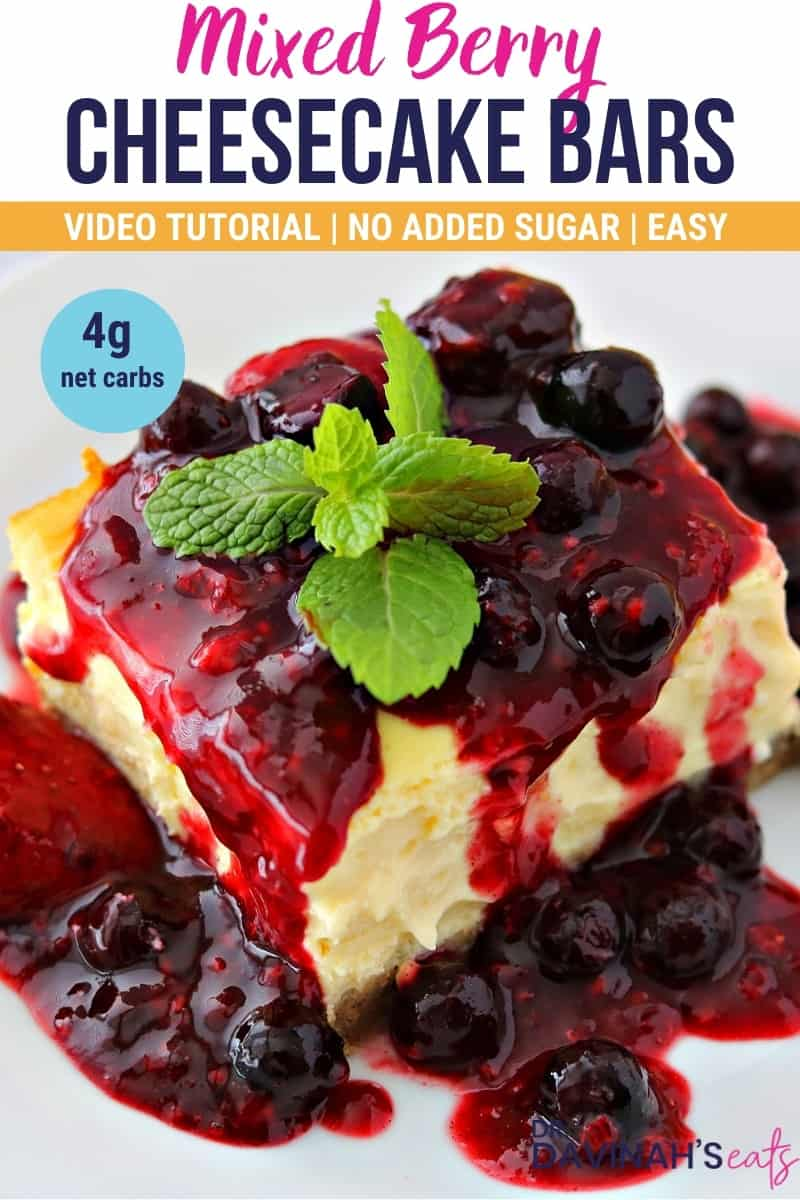 pinterest image for keto mixed berry cheesecake