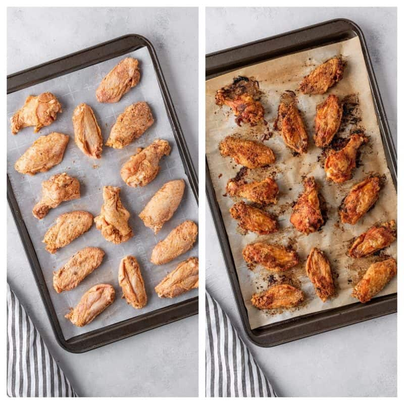A collage of Baked Chicken Wings Before and After Oven Baked
