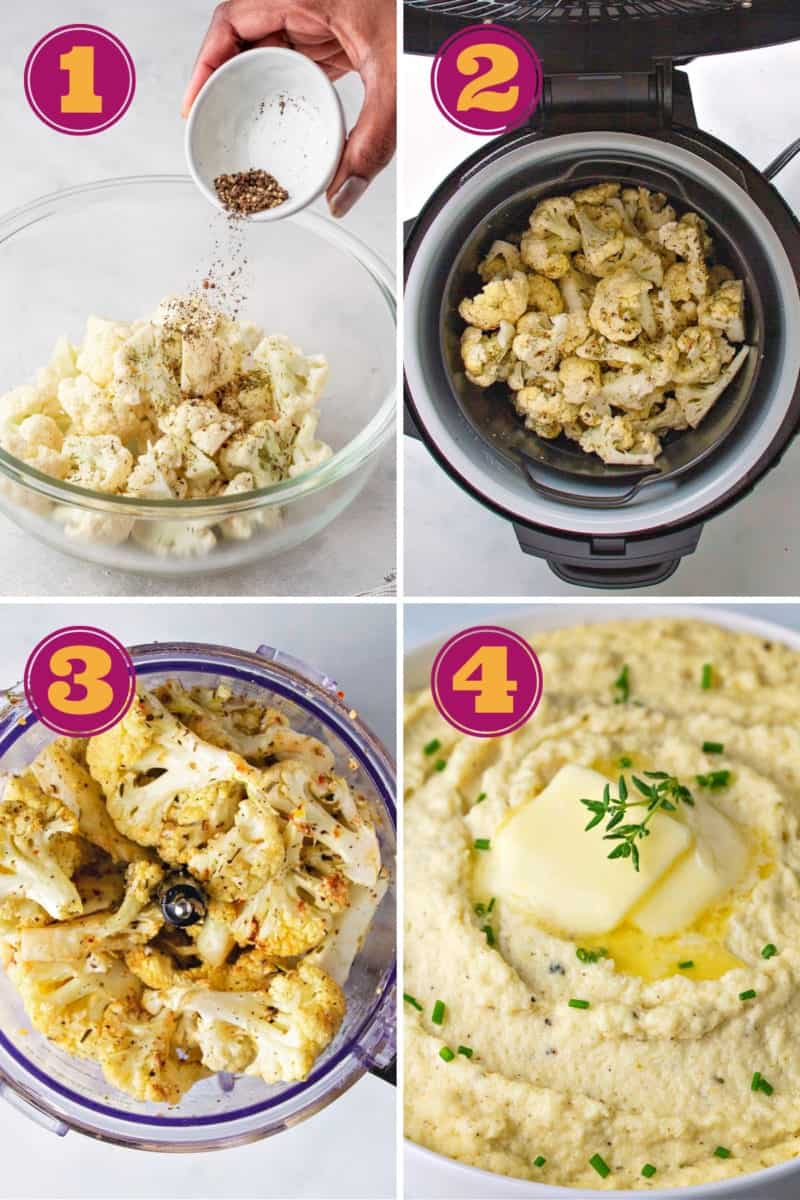 a photo collage for how to make cauliflower mash keto-friendly