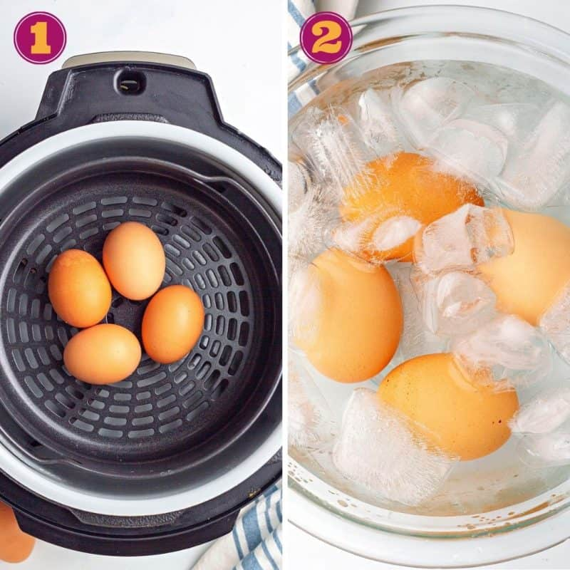 photo collage of how to cook eggs in the air fryer
