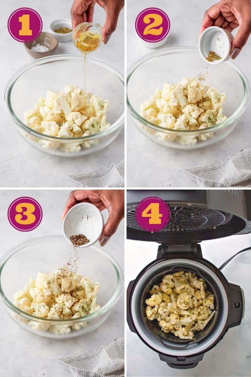 step by step photo collage for how to make roasted cauliflower in four steps