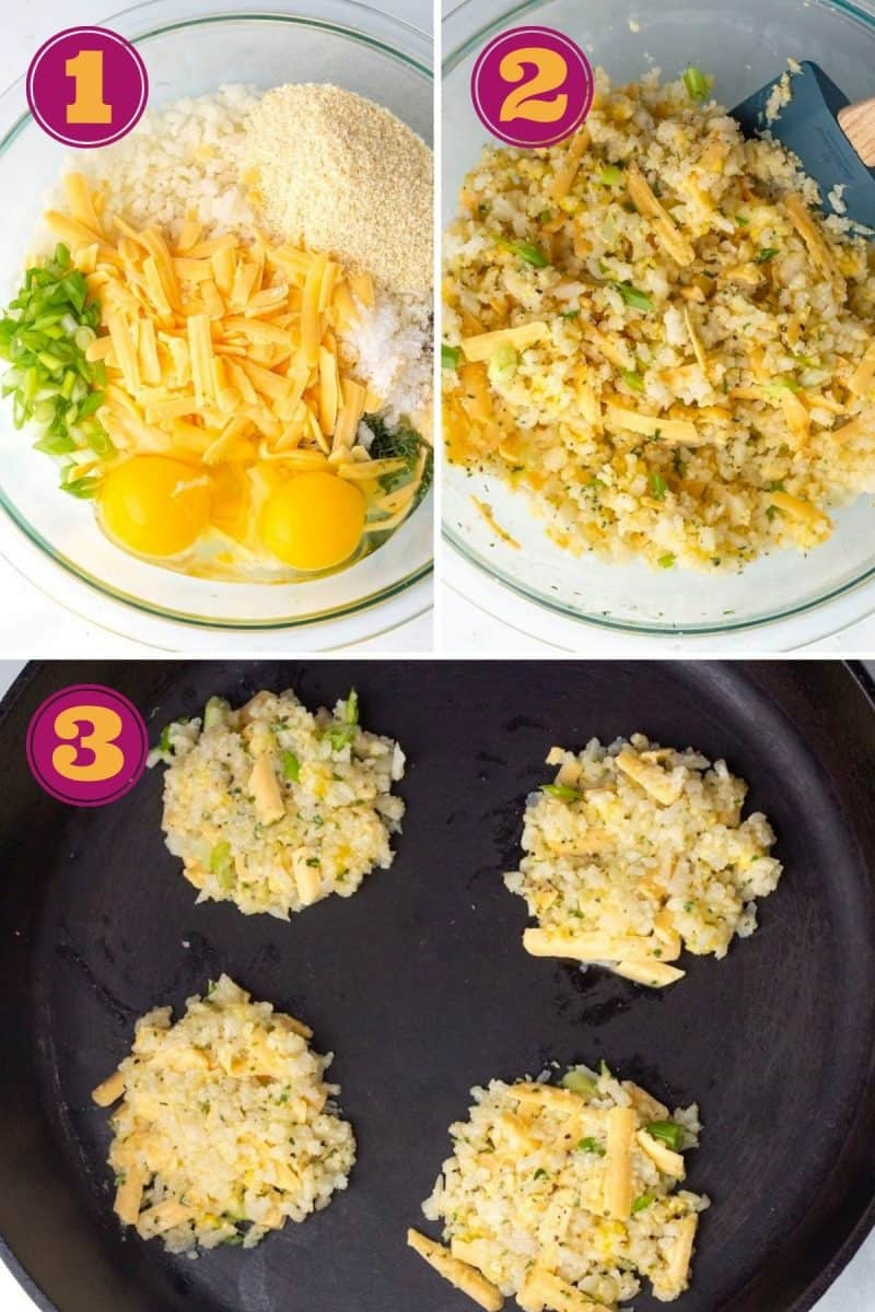 a photo collage showing how to make cauliflower hash browns in three steps