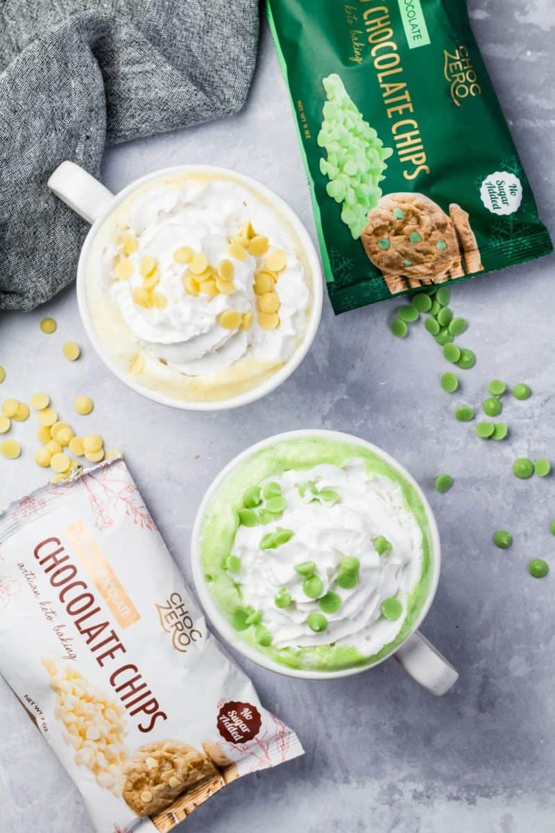 a cup of keto white hot chocolate and sugar-free peppermint white chocolate with choczero sugar-free white chocolate chips