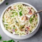 keto coleslaw in a bowl with a fork