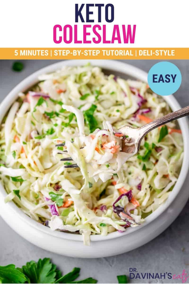 keto coleslaw pinterest image that says 5 minutes, low-carb, step-by-step tutorial, and easy