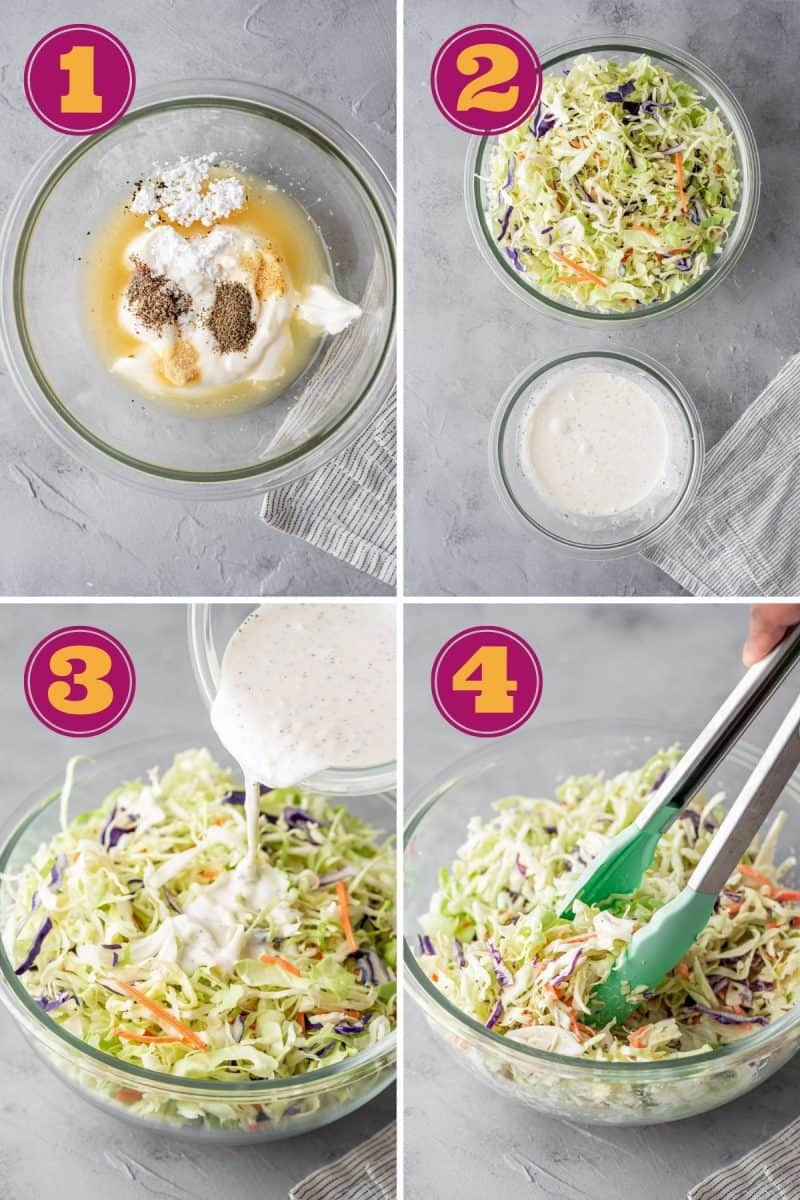step by step photo tutorial for how to make keto coleslaw