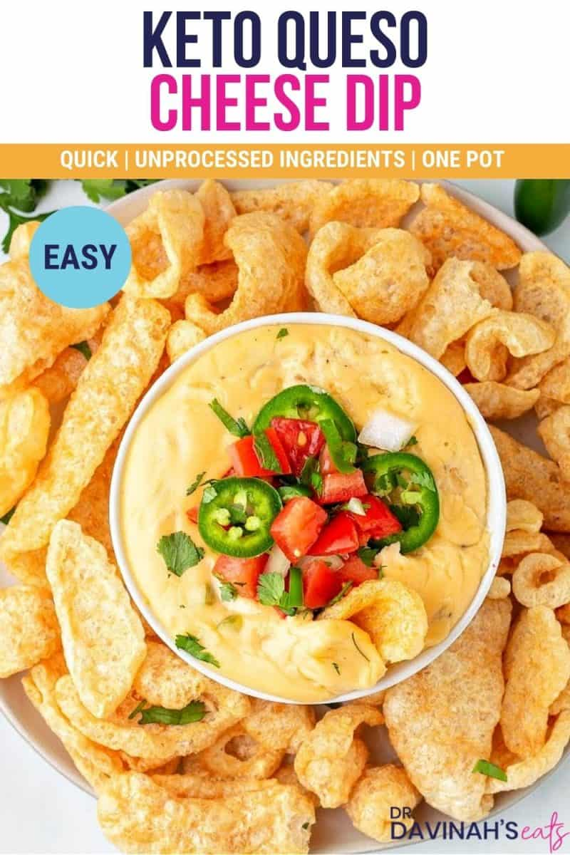 keto queso in a bowl with the words easy, unprocessed ingredients, quick, and keto