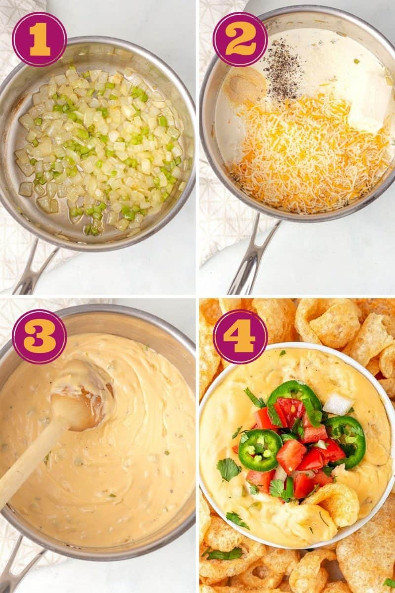 step by step photo collage of how to make keto queso