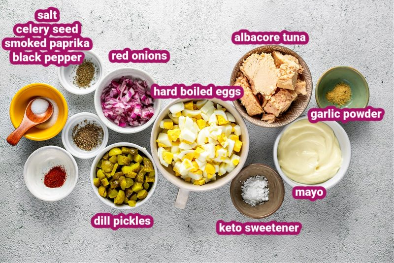 a photo of all the ingredients used to make keto tuna salad