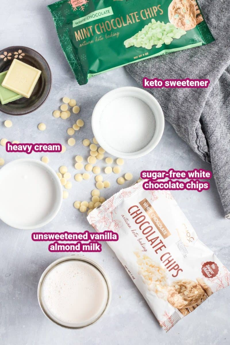 ingredients for sugar-free white hot chocolate on a flat surface