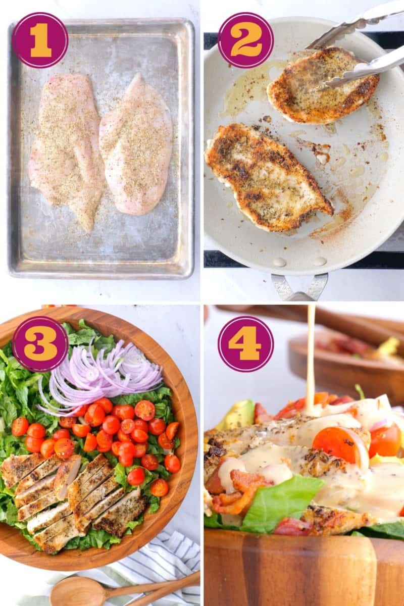 a step-by-step photo collage for how to make chicken Cobb Salad.