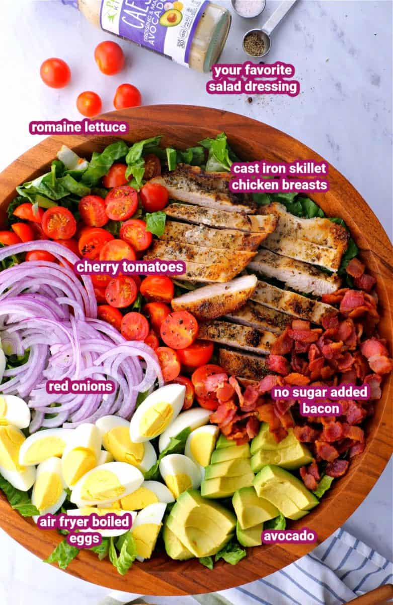 ingredients for keto chicken Cobb Salad in a bowl with text labels for things like avocado, chicken, eggs, tomatoes, red onions, bacon and romaine lettuce