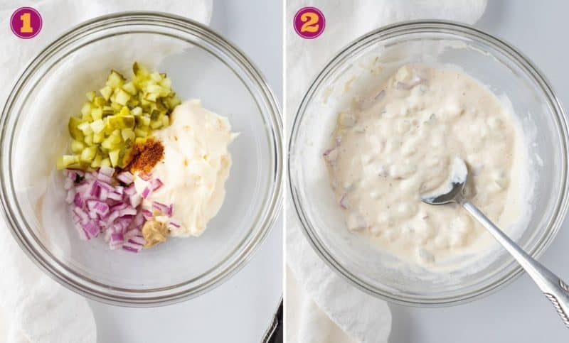 a two-step photo collage for how to make homemade tartar sauce. Add all of the ingredients to a bowl and mix.