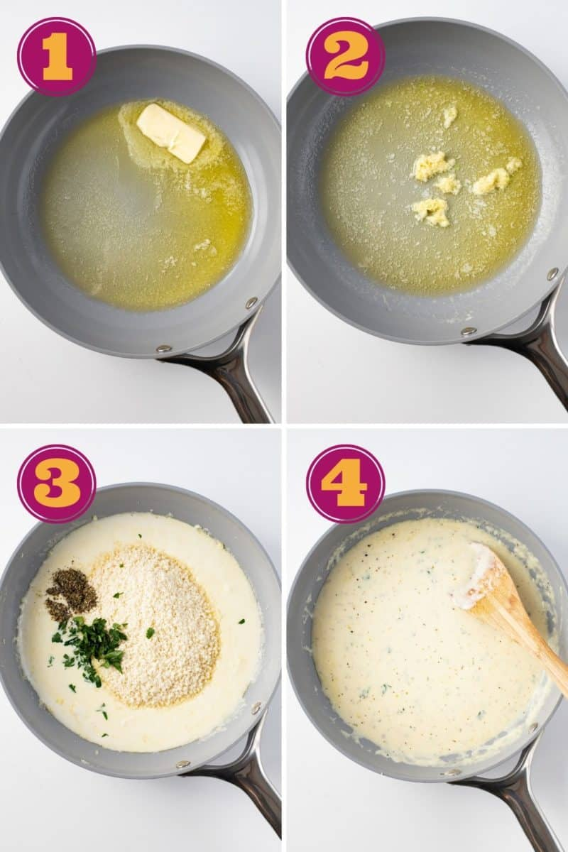 a photo tutorial for how to make Keto Alfredo sauce in four steps