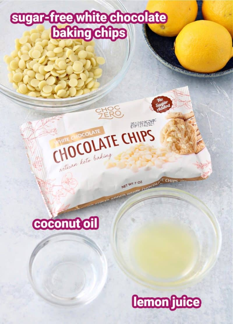 ingredients for the sugar-free white chocolate lemon glaze with labels for the sugar-free white chocolate chips, lemon juice, and coconut oil