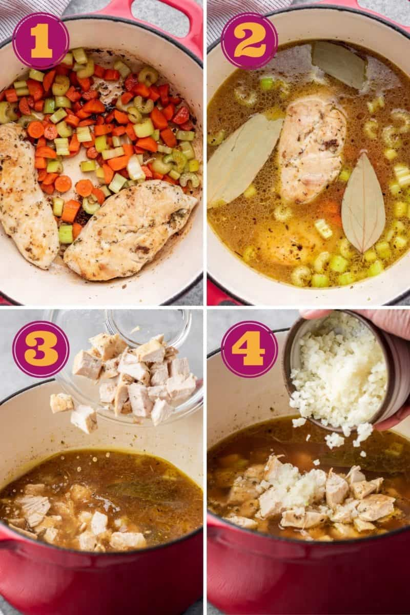 a step-by-step photo tutorial showing searing the chicken and vegetables, boiling the chicken in liquid, adding the chicken cubes, and then the cauliflower rice