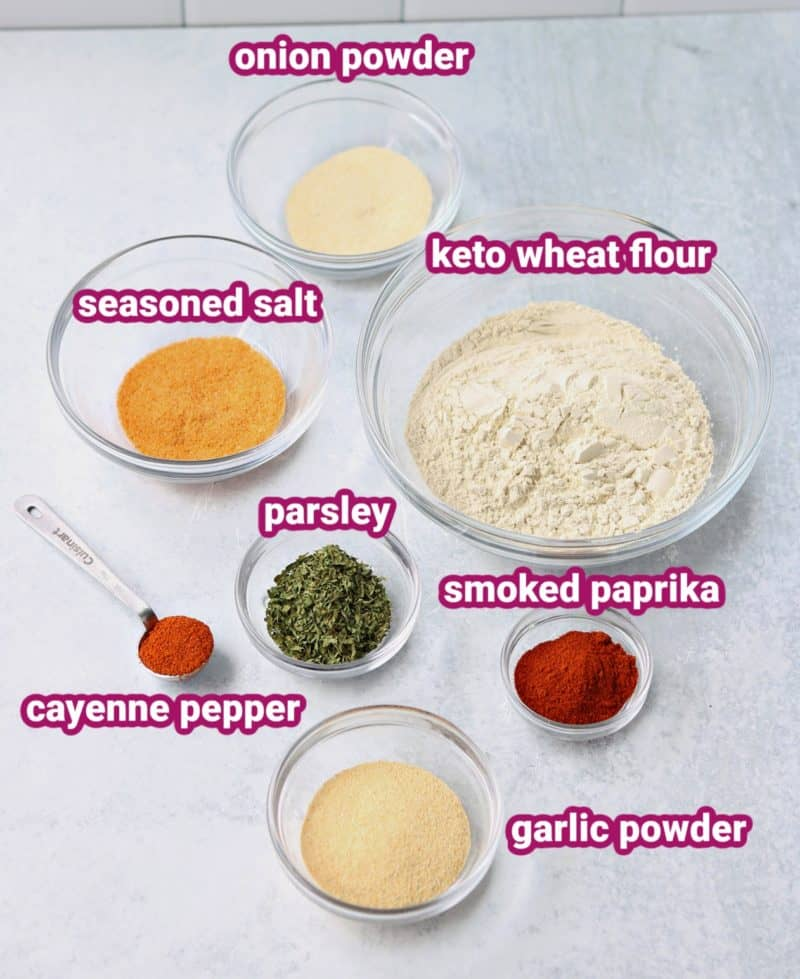 ingredients and spices for keto breading