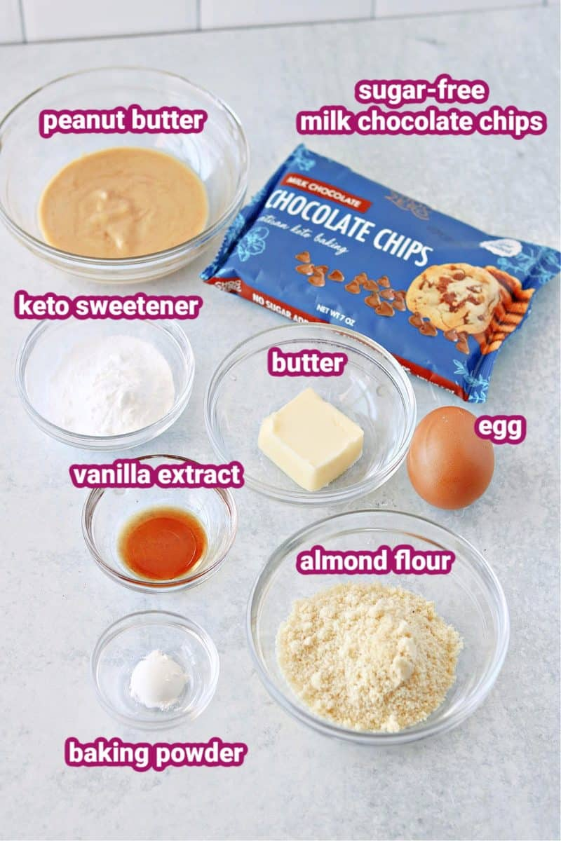 a photo of ingredients for keto peanut butter mug cake with text labels
