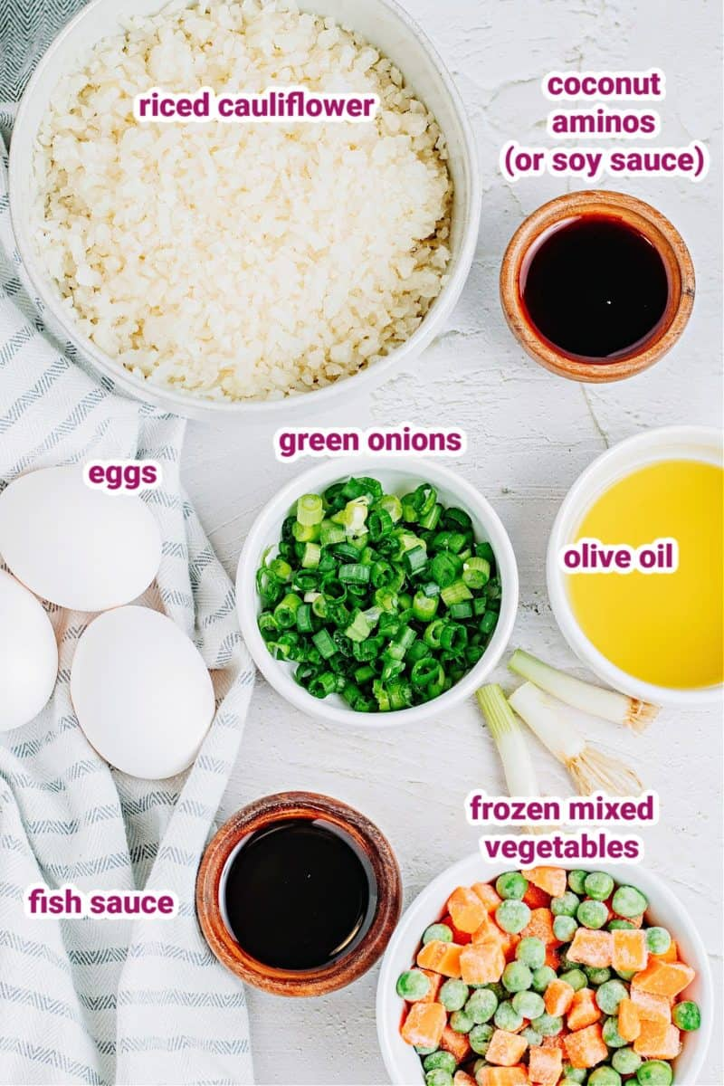 ingredients vegetable cauliflower fried rice with text labels