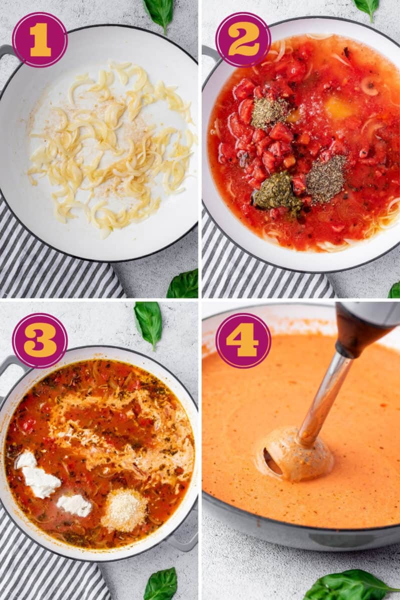 step by step photo collage of how to make keto tomato soup