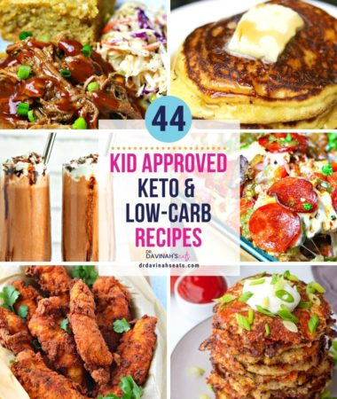 collage of six family friendly and kid keto approved recipes