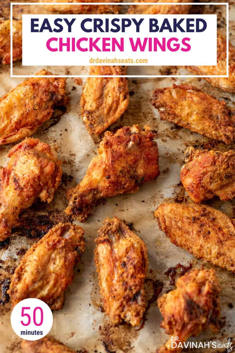 pinterest image for oven baked chicken wings