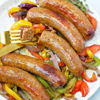 a plate of air fryer sausage and peppers