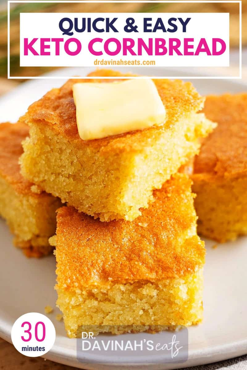 pinterest image for quick and easy keto cornbread with almond flour recipe