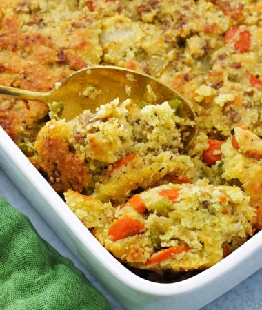 close-up of keto stuffing in a baking dish