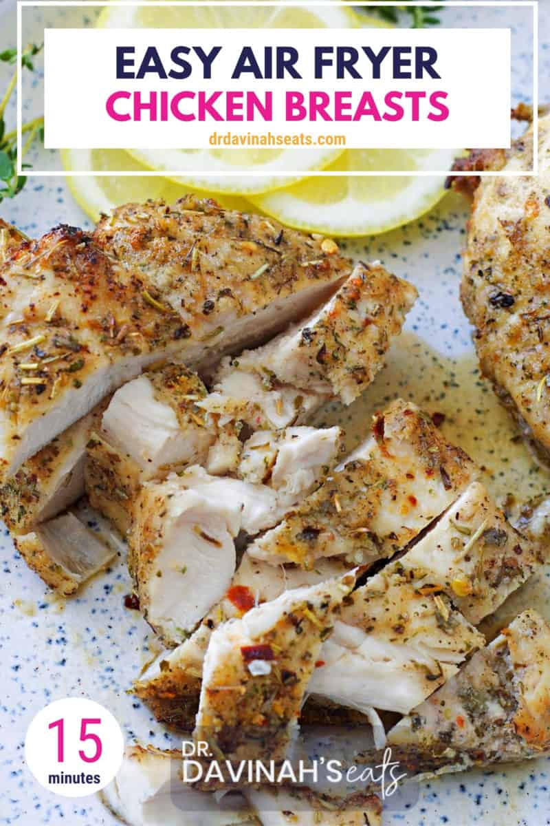 pinterest image for juicy air fryer chicken breasts